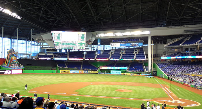 Photo of Marlins Park Baseball Stadium During the 2017 MLB Season