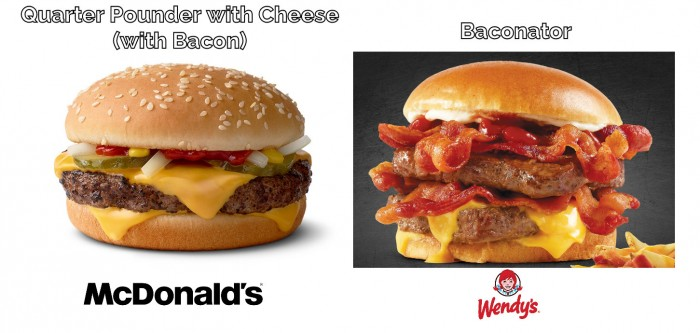 McDonalds Quarter Pounder with Cheese Vs Wendy's Baconator Image