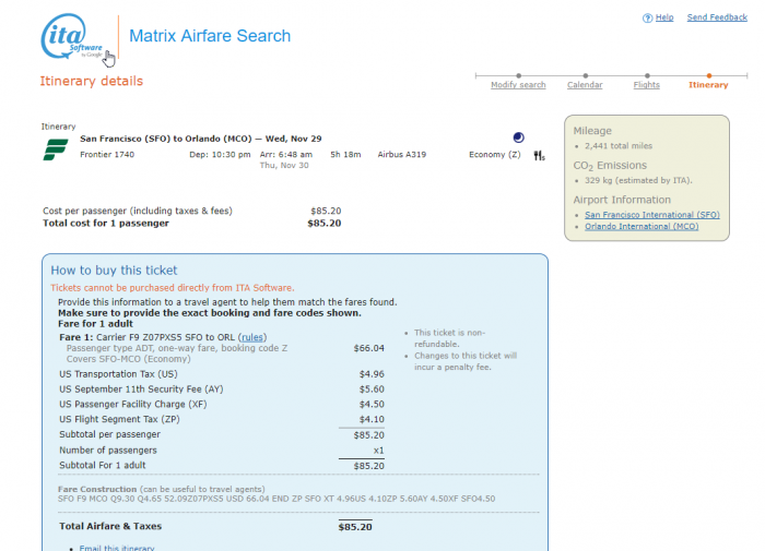 An Airfare On ITA Software Matrix San Francisco Orlando $85.20